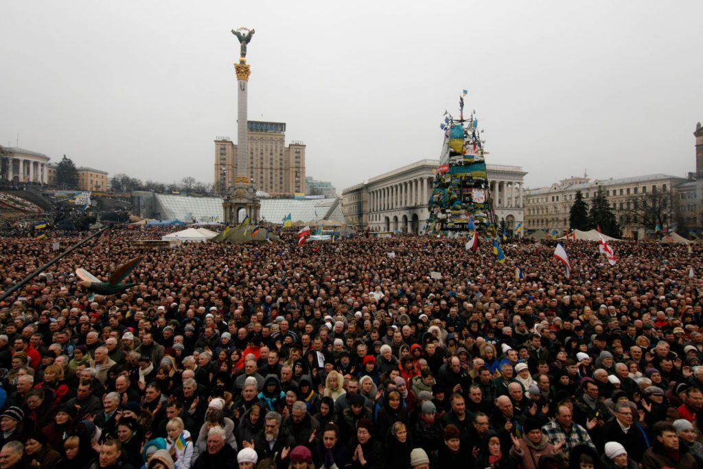 Ukrainians protest the annexation of Crimea.